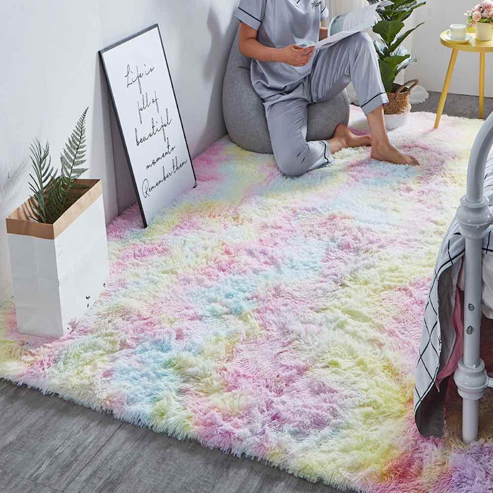 buy plush rainbow rug online